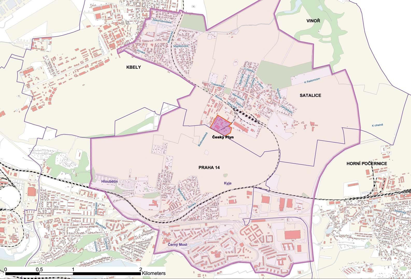Mapa Praha 14 Mapa